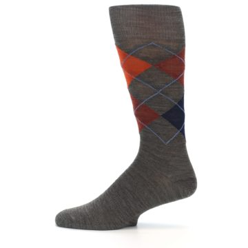 Image of Taupe Rust Argyle Wool Men's Casual Socks (side-2-11)