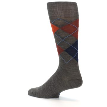 Image of Taupe Rust Argyle Wool Men's Casual Socks (side-2-13)