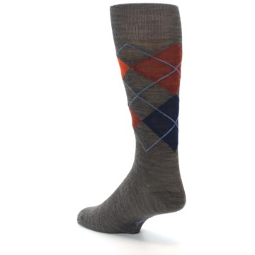 Image of Taupe Rust Argyle Wool Men's Casual Socks (side-2-back-14)