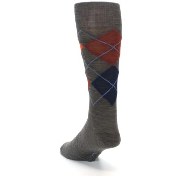 Image of Taupe Rust Argyle Wool Men's Casual Socks (side-2-back-15)