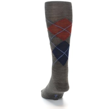 Image of Taupe Rust Argyle Wool Men's Casual Socks (side-2-back-16)