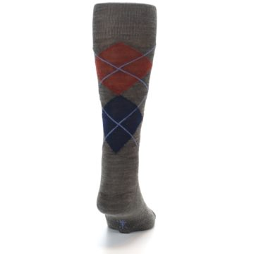 Image of Taupe Rust Argyle Wool Men's Casual Socks (back-18)