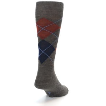 Image of Taupe Rust Argyle Wool Men's Casual Socks (back-19)