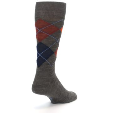 Image of Taupe Rust Argyle Wool Men's Casual Socks (side-1-back-20)