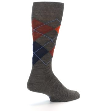 Image of Taupe Rust Argyle Wool Men's Casual Socks (side-1-back-21)