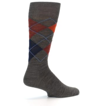 Image of Taupe Rust Argyle Wool Men's Casual Socks (side-1-back-22)