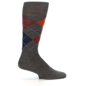 Image of Taupe Rust Argyle Wool Men's Casual Socks (side-1-23)