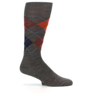 Image of Taupe Rust Argyle Wool Men's Casual Socks (side-1-24)