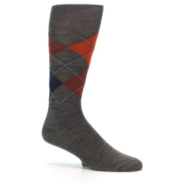 Image of Taupe Rust Argyle Wool Men's Casual Socks (side-1-25)