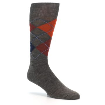 Image of Taupe Rust Argyle Wool Men's Casual Socks (side-1-26)
