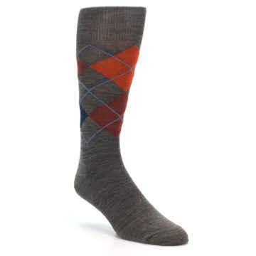 Image of Taupe Rust Argyle Wool Men's Casual Socks (side-1-27)