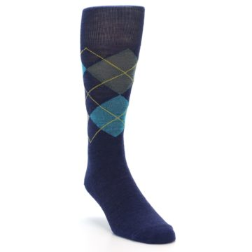 Image of Navy Grey Argyle Wool Men's Casual Socks (side-1-front-02)