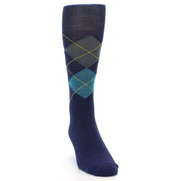 Image of Navy Grey Argyle Wool Men's Casual Socks (side-1-front-03)