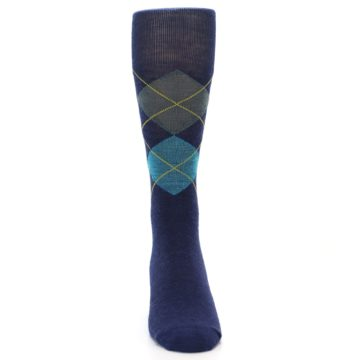 Image of Navy Grey Argyle Wool Men's Casual Socks (front-04)