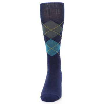 Image of Navy Grey Argyle Wool Men's Casual Socks (front-05)