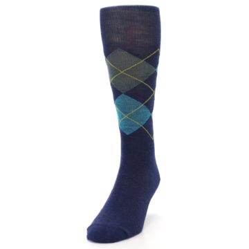 Image of Navy Grey Argyle Wool Men's Casual Socks (side-2-front-06)