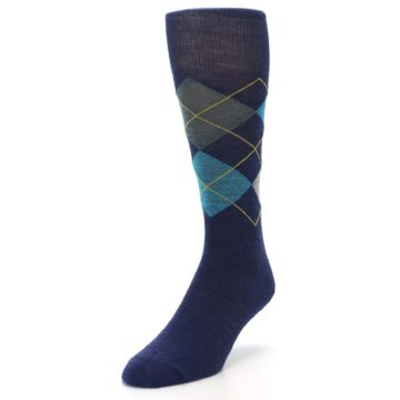 Image of Navy Grey Argyle Wool Men's Casual Socks (side-2-front-07)
