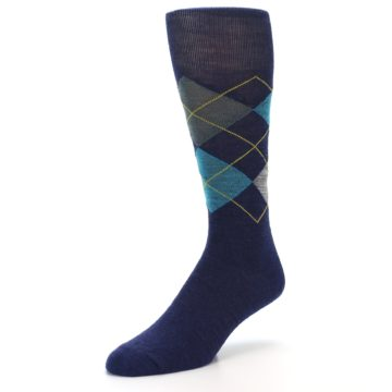 Image of Navy Grey Argyle Wool Men's Casual Socks (side-2-front-08)