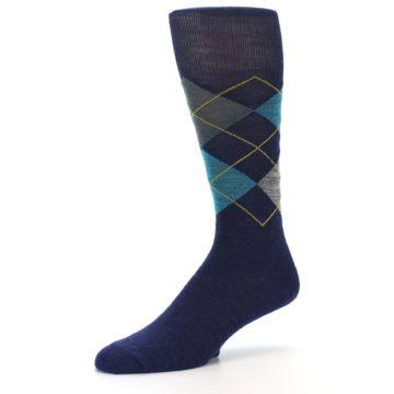 Image of Navy Grey Argyle Wool Men's Casual Socks (side-2-09)