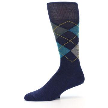 Image of Navy Grey Argyle Wool Men's Casual Socks (side-2-10)