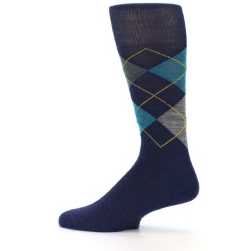 Image of Navy Grey Argyle Wool Men's Casual Socks (side-2-12)