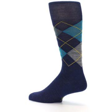 Image of Navy Grey Argyle Wool Men's Casual Socks (side-2-13)