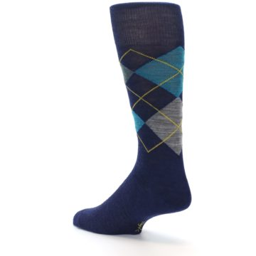 Image of Navy Grey Argyle Wool Men's Casual Socks (side-2-back-14)