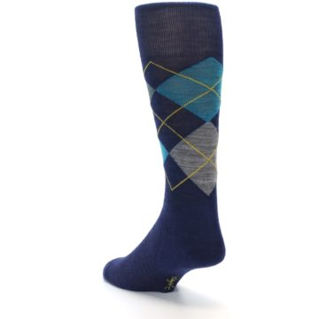 Image of Navy Grey Argyle Wool Men's Casual Socks (side-2-back-15)