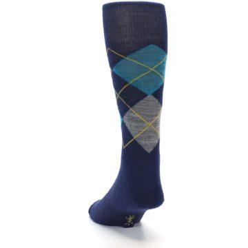 Image of Navy Grey Argyle Wool Men's Casual Socks (side-2-back-16)