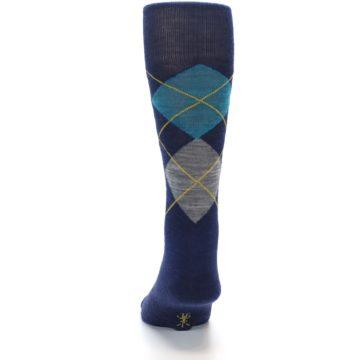 Image of Navy Grey Argyle Wool Men's Casual Socks (back-17)