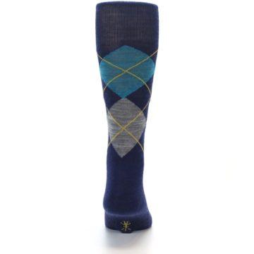 Image of Navy Grey Argyle Wool Men's Casual Socks (back-18)