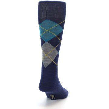 Image of Navy Grey Argyle Wool Men's Casual Socks (back-19)