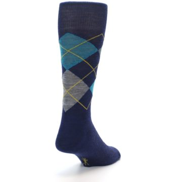 Image of Navy Grey Argyle Wool Men's Casual Socks (side-1-back-20)