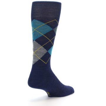 Image of Navy Grey Argyle Wool Men's Casual Socks (side-1-back-21)
