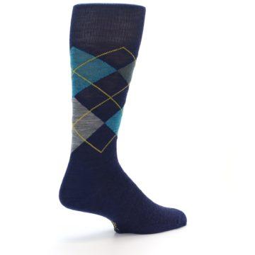 Image of Navy Grey Argyle Wool Men's Casual Socks (side-1-back-22)