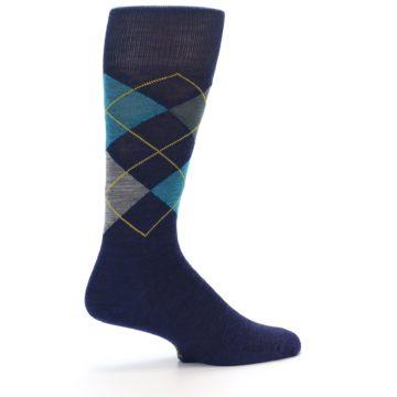 Image of Navy Grey Argyle Wool Men's Casual Socks (side-1-23)