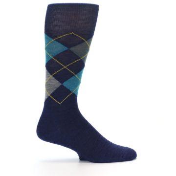 Image of Navy Grey Argyle Wool Men's Casual Socks (side-1-24)
