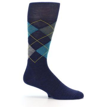 Image of Navy Grey Argyle Wool Men's Casual Socks (side-1-25)