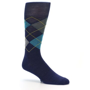Image of Navy Grey Argyle Wool Men's Casual Socks (side-1-26)