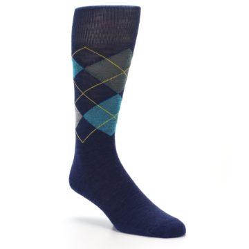 Image of Navy Grey Argyle Wool Men's Casual Socks (side-1-27)