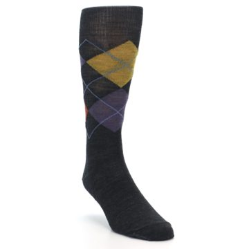 Image of Charcoal Multi Argyle Wool Men's Casual Socks (side-1-front-02)