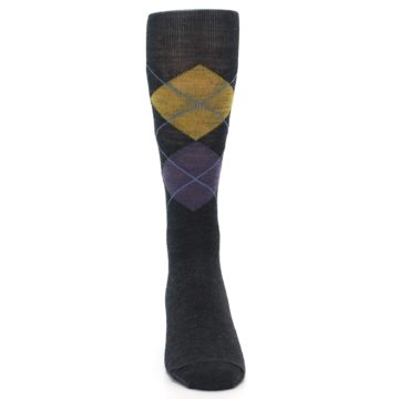Image of Charcoal Multi Argyle Wool Men's Casual Socks (front-04)