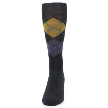 Image of Charcoal Multi Argyle Wool Men's Casual Socks (front-05)