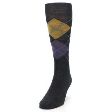 Image of Charcoal Multi Argyle Wool Men's Casual Socks (side-2-front-06)