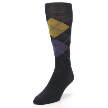Image of Charcoal Multi Argyle Wool Men's Casual Socks (side-2-front-07)
