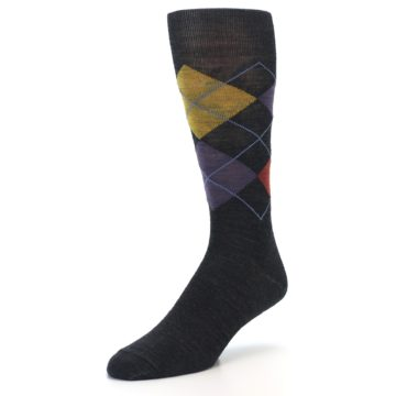Image of Charcoal Multi Argyle Wool Men's Casual Socks (side-2-front-08)