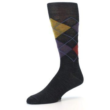 Image of Charcoal Multi Argyle Wool Men's Casual Socks (side-2-09)