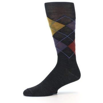 Image of Charcoal Multi Argyle Wool Men's Casual Socks (side-2-10)