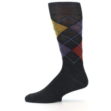 Image of Charcoal Multi Argyle Wool Men's Casual Socks (side-2-11)