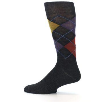Image of Charcoal Multi Argyle Wool Men's Casual Socks (side-2-12)